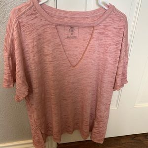 Pink Oversized Distressed Free People Top